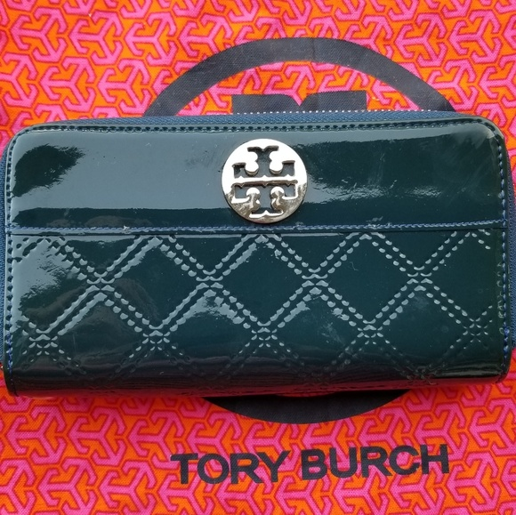 Tory Burch Handbags - Tory Burch Blue Double Zipper Wallet